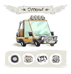 Cartoon Beach SUV Set vector image