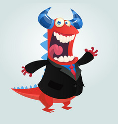 Cartoon happy monster businessman vector