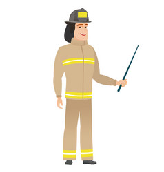 Caucasian firefighter holding pointer stick vector