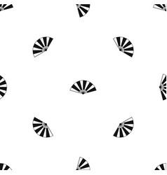 Chinese fan pattern seamless black vector