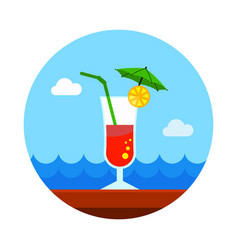 Cocktail icon summer vacation vector