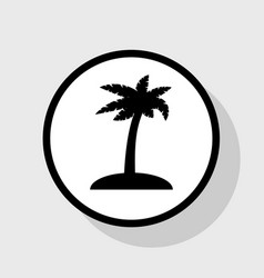Coconut palm tree sign flat black icon in vector
