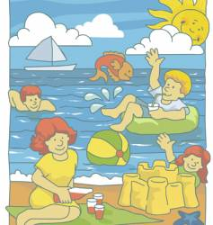 family at beach vector image