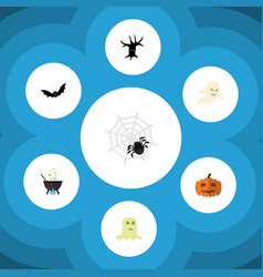 flat icon festival set of spinner magic ghost vector image vector image