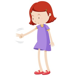 Girl playing rock paper scissors vector