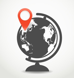 Globe with the point of destination vector