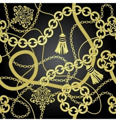 Gold chain seamless background vector