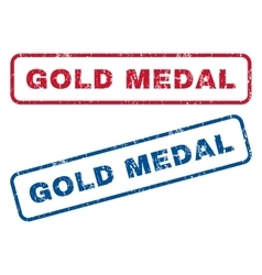 Gold medal rubber stamps vector