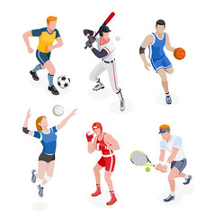 group of sports people vector image
