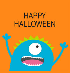 happy halloween card screaming spooky monster vector image