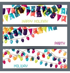 Holiday colorful horizontal banners with flags and vector image vector image