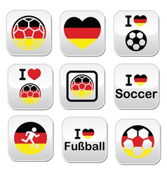 I love german football soccer buttons set vector