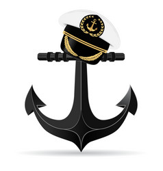 Metallic anchor and on it hangs a cap captain vector image