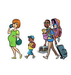 Multi ethnic family travelers mom dad and kids vector