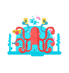 Octopus character design flat vector
