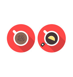 Offee and tea in red circles vector