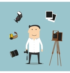 Photographer and photography devices vector image vector image