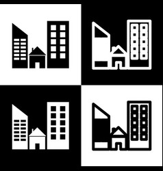 Real estate sign black and white icons vector