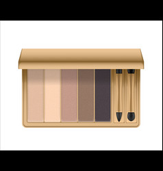 realistic eyeshadow palette with brush vector image vector image
