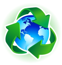 recycle symbol with blue earth on white background vector image