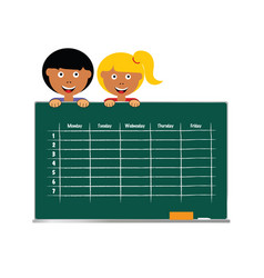 School timetable with children vector