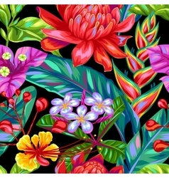 Seamless pattern with thailand flowers tropical vector