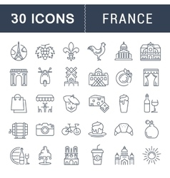 Set Flat Line Icons France and Paris vector image vector image