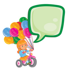 Small girl ride tricycle with balloons vector