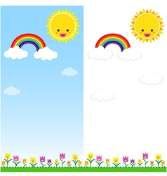Sun Rainbow and Cloud 001 vector image