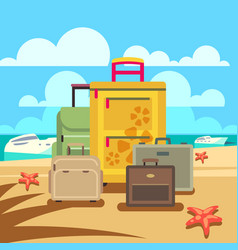 Travel concept background with passenger luggage vector