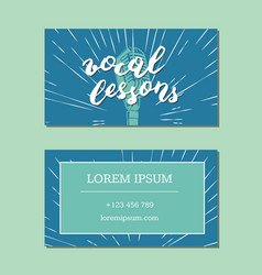 Vocal lessons business card with lettering vector