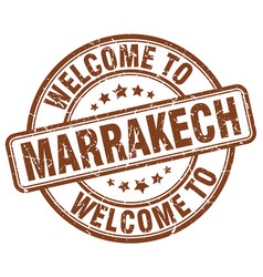 Welcome to marrakech brown round vintage stamp vector