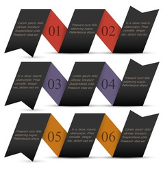 Origami black paper numbered banners vector