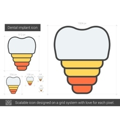 Dental implant line icon vector