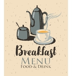 Breakfast with a teapot and cup of tea vector