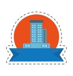Real estate building emblem ribbon cut line vector