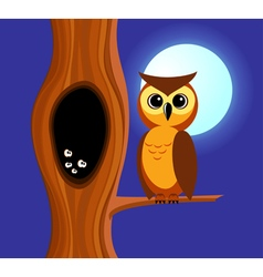 Owl and tree vector image