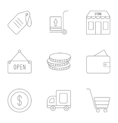 Market icons set outline style vector