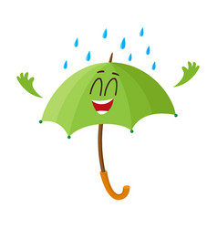 funny green umbrella character with smiling human vector image