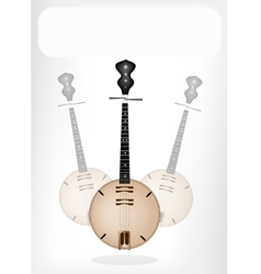 A musical dan nguyet with a white banner vector