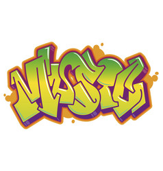 Music word in graffiti style vector