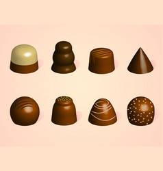 set of chocolate candies different forms of vector image