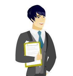 Young asian groom holding clipboard with documents vector