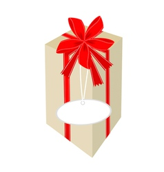 A beautiful tall gift box with red ribbon vector