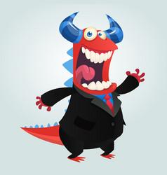 cartoon happy monster businessman vector image