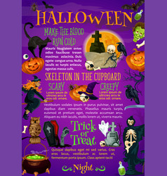 Halloween pumpkin witch hat and bat poster design vector