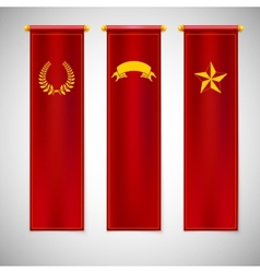 Vertical red flags with emblems vector