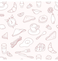 Outline hand drawn breakfast seamless pattern vector