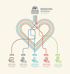 Flat linear infographic charity and donation outli vector