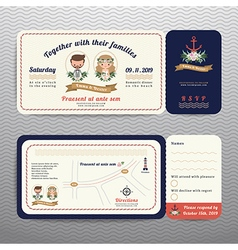 Nautical ticket hipster bride and groom wedding vector image
